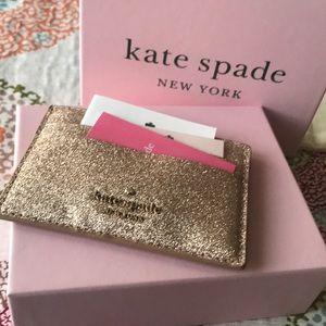 NWT Kade Spade NY♠️ Glitter Gold Card holder